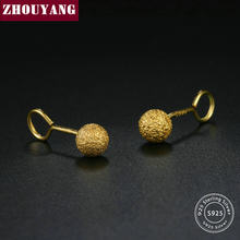 ZHOUYANG S925 Stud Earrings For Unisex 5 mm Dull Polish Ball Yellow Gold Color Bean 925 Sterling Silver Fashion Jewelry EY172(China)