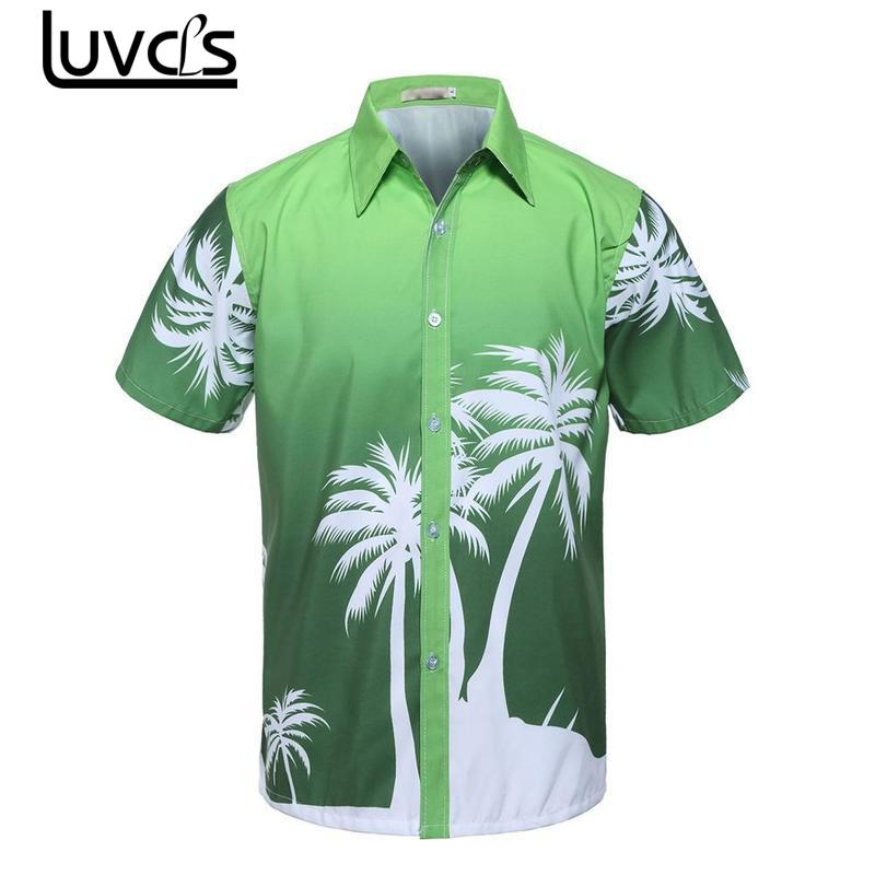 LUVCLS Summer Men Short Sleeve Printed Shirt Fashion Beach Men Shirts Loose Summer Men Shirt Mens Hawaiian T-shirt Tee Plus Size