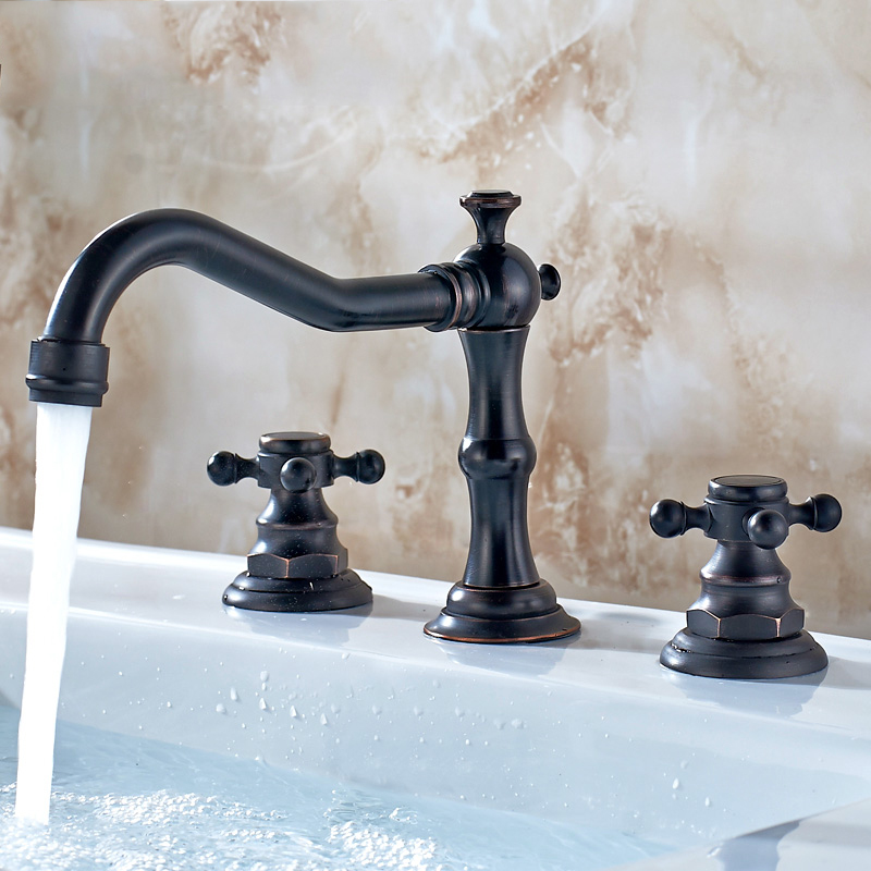 European Antique Black Kitchen Faucet Brass Electroplate Blackened Three - Hole Basin Three - Piece Set Of Copper Taps Hot Cold lanos torneira all copper split three piece three hole basin faucet flat water double tube factory direct the hot and cold taps