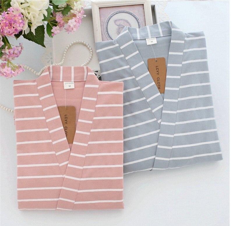 Stripes Couples Kimono Robes Pyjamas Sets Women  Cotton Japanese Kimono Pijama