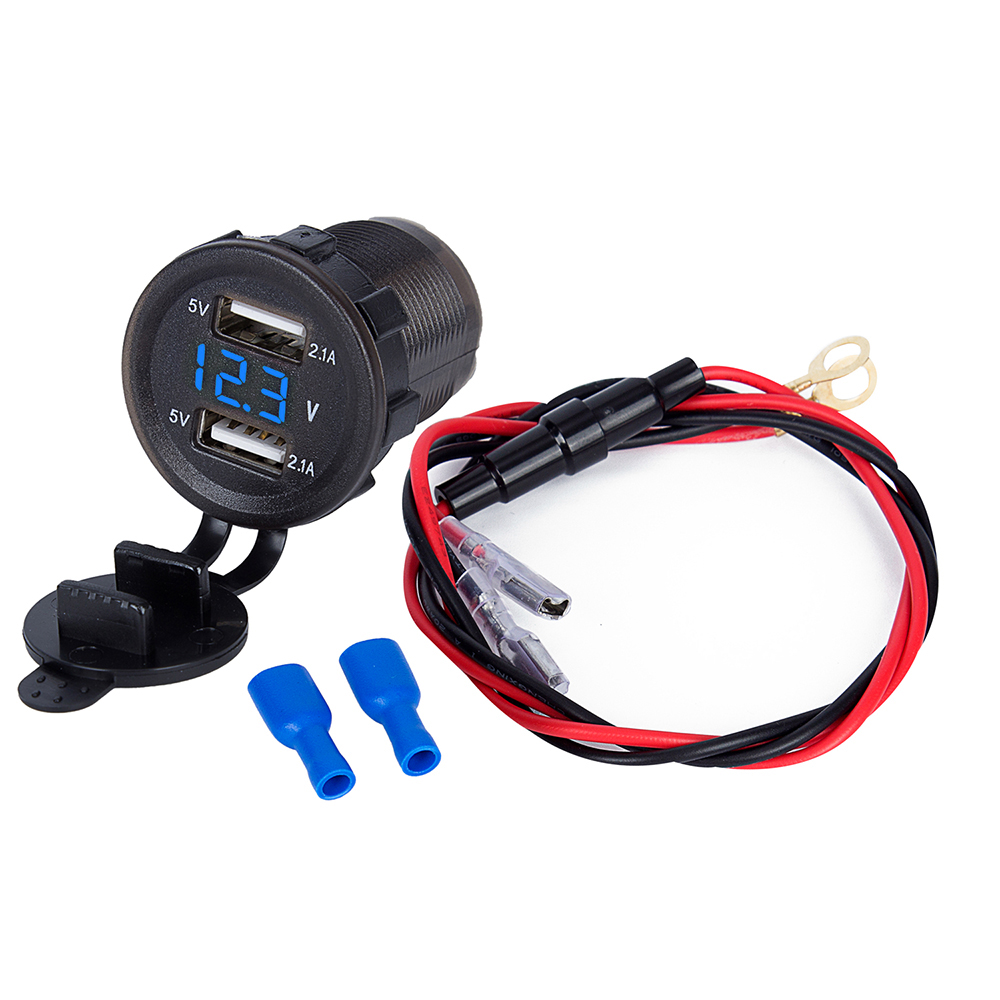Dual USB 4.2A Car Charger for Most Cell Phone Blue LED Digital Voltmeter Wire