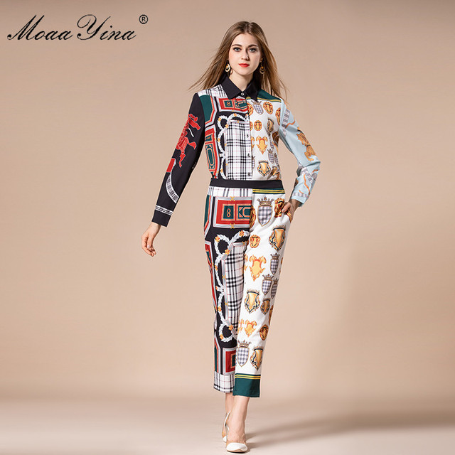 MoaaYina Fashion Designer Set Autumn Women Turn-down Collar Vintage Floral Print loveliness Elegant Tops+Trousers Two-piece suit
