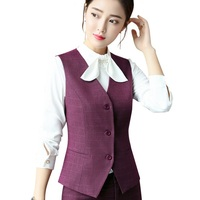 Fashion business Plaid vest 2018 New work wear uniforms Slim V Neck Formal jackets women office ladies vests coat plus size tops