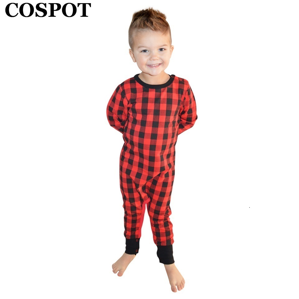 COSPOT Newborn Christmas Rompers Baby Boys Girls Red Plaid Jumpsuit Kids Christmas Pajamas Infant Jumper 2018 New Arrival E41