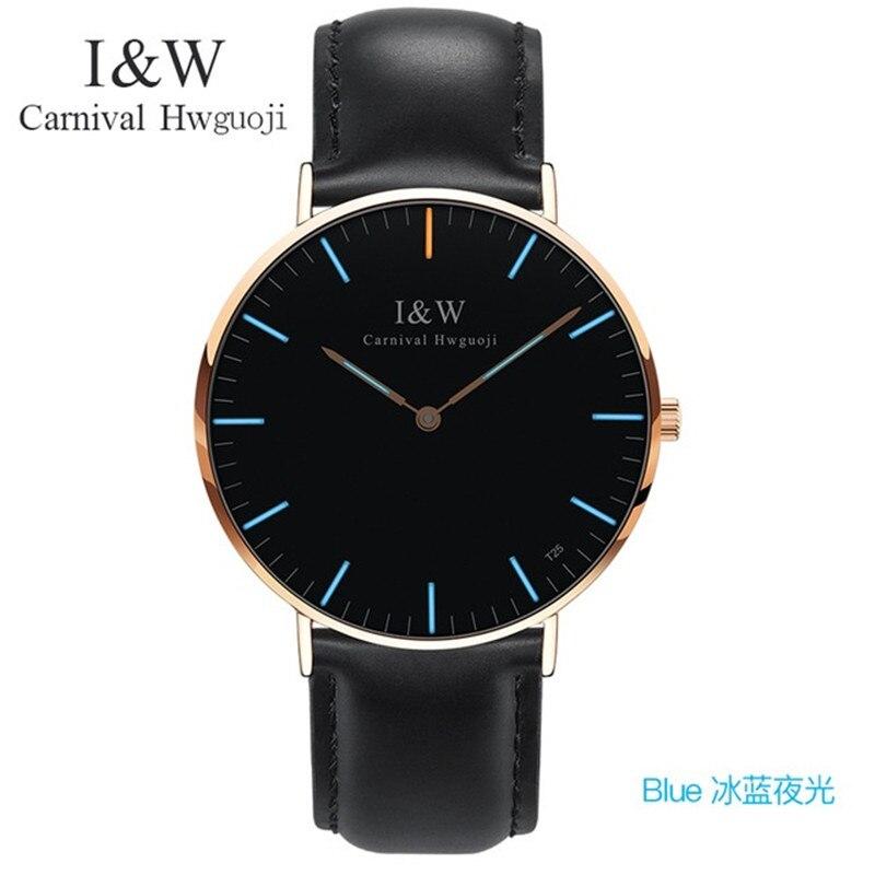 Mens De Luxe Carnaval I & W Bleu Tritium Lumineux montres à quartz pour homme Ultra-Mince montres-bracelet étanches Mâle En Cuir Horloge Relogios