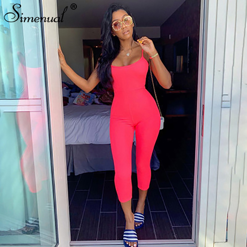 Simenual Neon Color Fitness Casual Jumpsuit Women Strap Active Wear Workout Overalls Sleeveless Bodycon Athleisure Jumpsuits New