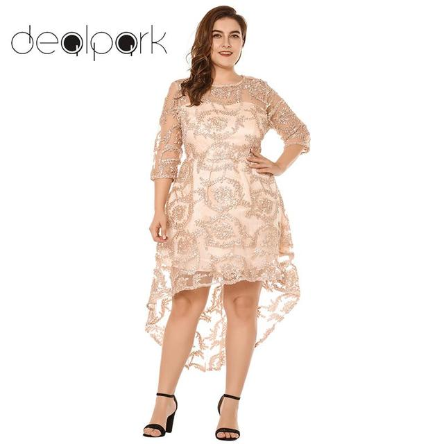 3f0e202284a4b Plus Size 3XL 4XL 5XL Women Swing Dress Semi-sheer Lace Dress 3 4
