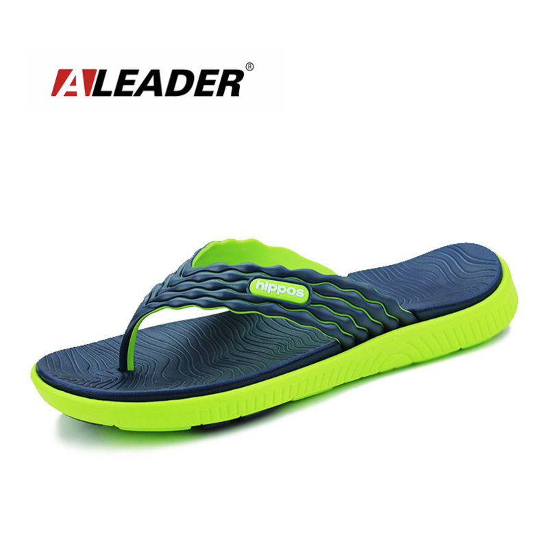 a4a262c23fc89 ALEADER New 2019 Summer Men s Flip Flops High-quality Soft Massage Beach  Slippers Fashion Men