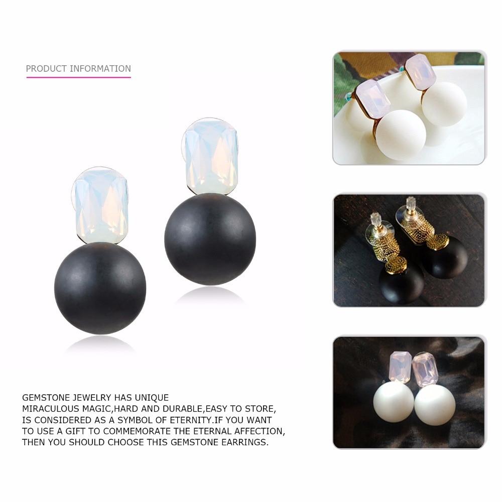 eManco Engros Vægt Stud Krystal Øreringe 3 Varer sort & hvid perler - Mode smykker - Foto 3