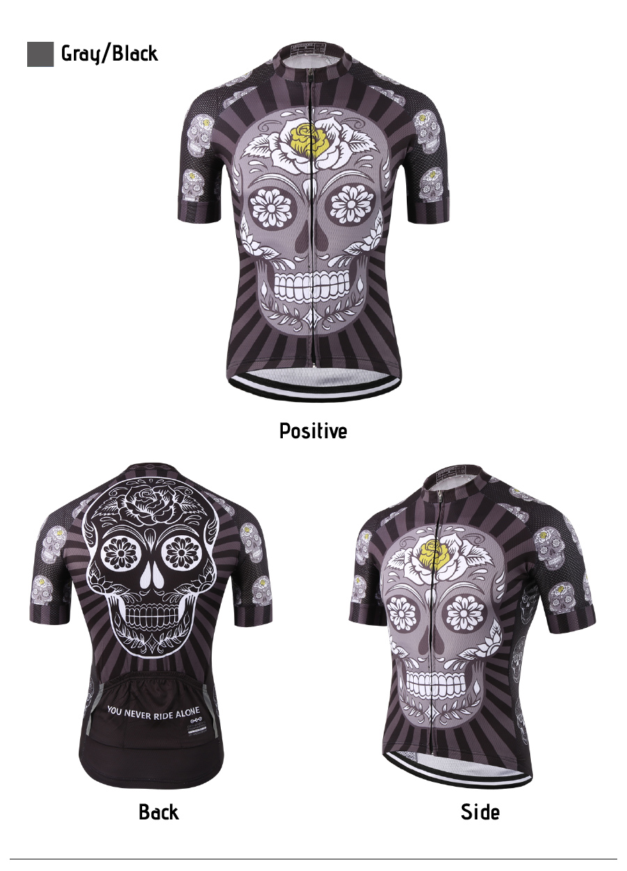 White Skull Sublimation Printing Cycling Jersey Best 2019 Pro ... 017ecebce