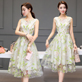 2016 Summer New Fashion Women Clothing Korean Style Sleeveless Organza Dress A-line Empire Printing Zipper Long Dresses Female