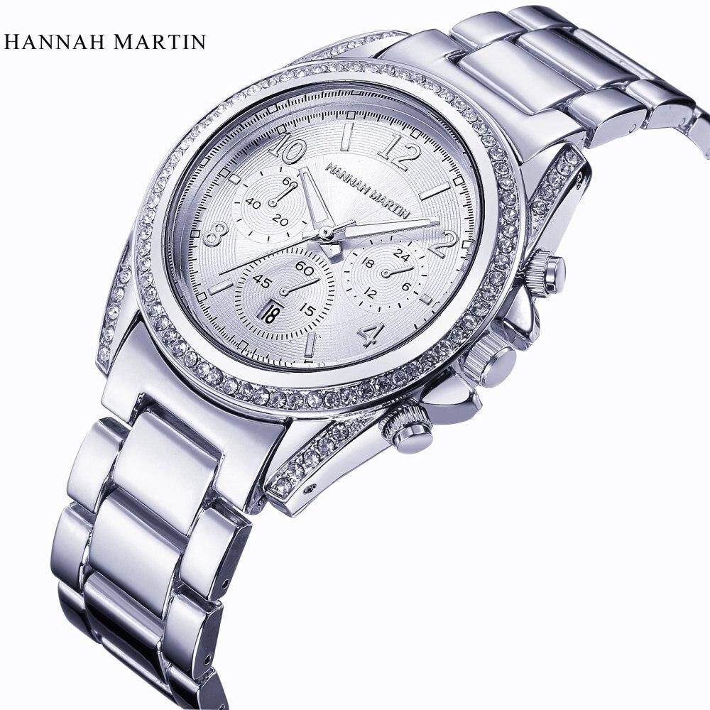 Top Brand Hannah Martin Silver Watches Women Luxury Diamond Quartz Watch Clock Ladies Stainless Steel Analog Wristwatches  Date martin roth top stocks 2016
