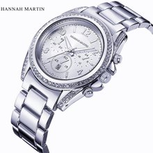 Top Brand Hannah Martin Silver Watches Women Luxury Diamond Quartz Watch Clock Ladies Stainless Steel Analog Wristwatches  Date