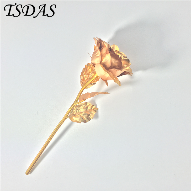 Aliexpress Com Buy Wr Romantic Rose 24k Gold Dipped: Home Decoration Golden Flower Creative Valentine's Day