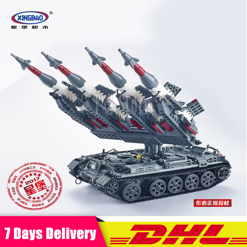 DHL Xingbao 06004 1753Pcs Military Series The SA-3 missile and T55 Tank Set Educational Building Blocks Bricks Model Toys the new hot promotions 1 30 military vehicles dongfeng 11a missile launch vehicle model alloy office decoration