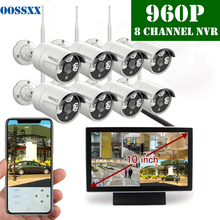 OOSSXX 8CH 1080P Wireless NVR Kit 10′ Monitor Wireless CCTV 8pcs 960P Indoor Outdoor IP Camera Video Surveillance System