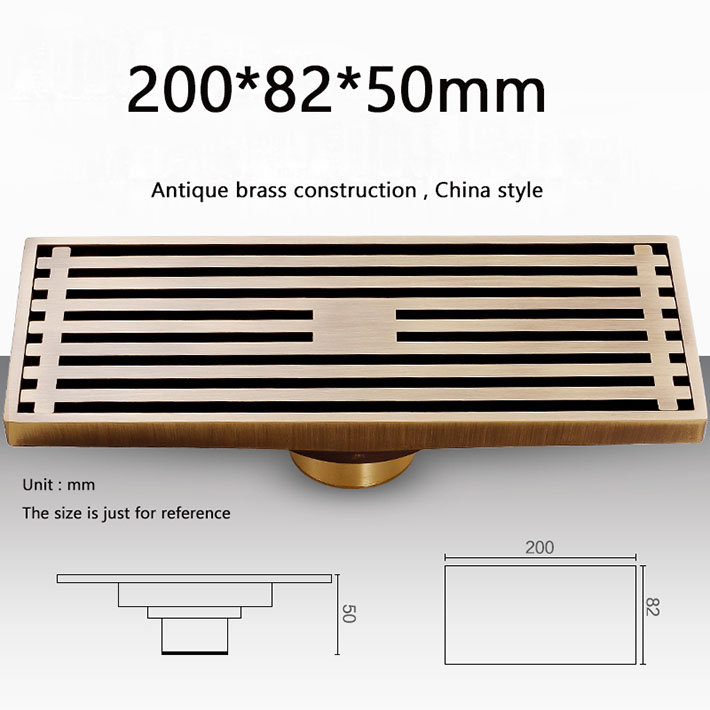 20cm Antique bronze large-traffic bathroom shower floor waste drain,Brass Square Bath Floor Drain Shower Waste Water Drainer oil rubbed bronze square floor drain cover bathroom 4 inch waste drainer free shipping