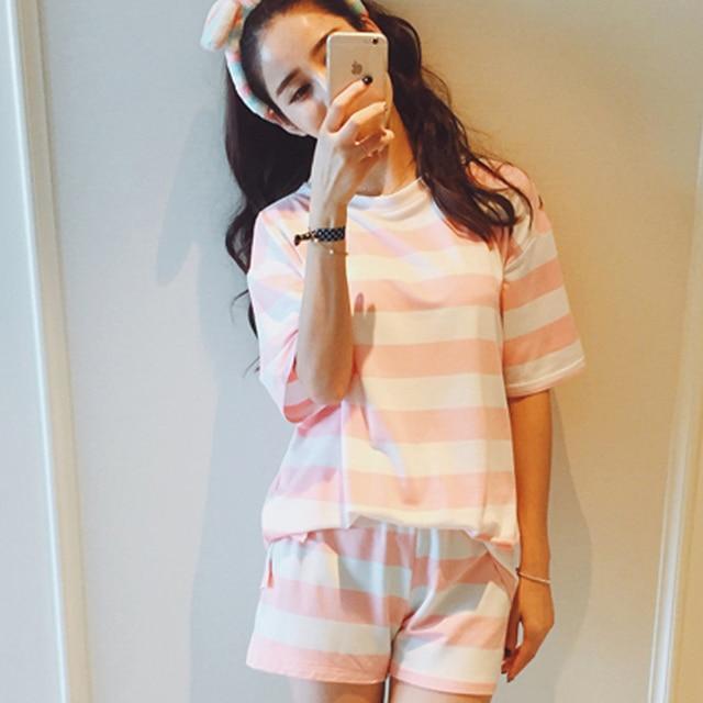 Бесплатная доставка досуг одежды новые 2016 весна и лето с коротким рукавом женщин пижамы полоса шелковые пижамы прекрасный 90 S пижамы