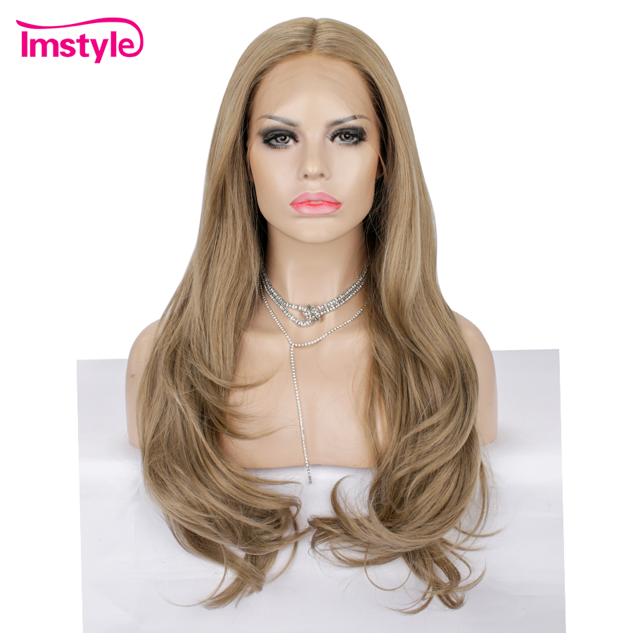 Imstyle Brown Wig Long Synthetic Lace Front Wig Heat Resistant Fiber Natural Wavy Hair Wigs For Women Part Daily Wig 28 Inch