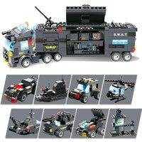 8 ב 1 SWAT עיר משטרת תחנת אבני בניין דמויות נשק בלוקים משטרת משאית צעצועים לילדים קיד Creative חינוכיים