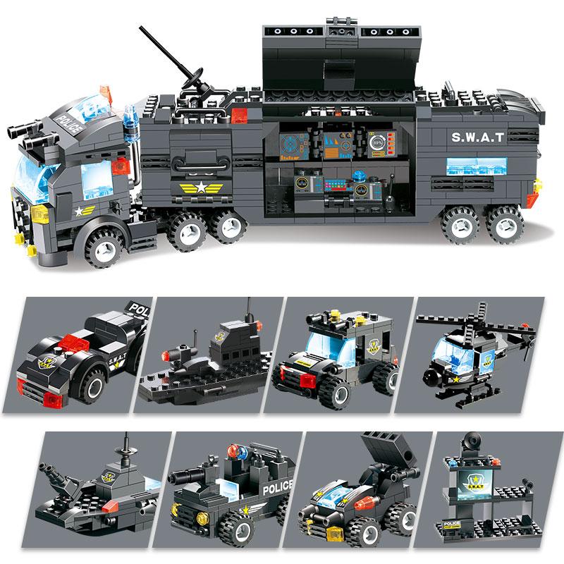 8 in 1 SWAT City Police Station Building Blocks Figures Weapons Blocks Police Truck Toys For Children Kid Creative Educational|gun block|building blocks|plastic building blocks - title=
