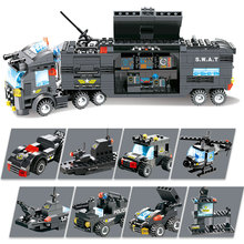 8 in 1 SWAT City Police Station Building Blocks LegoED Policeman Figures Gun Assembled Truck Toys for Children