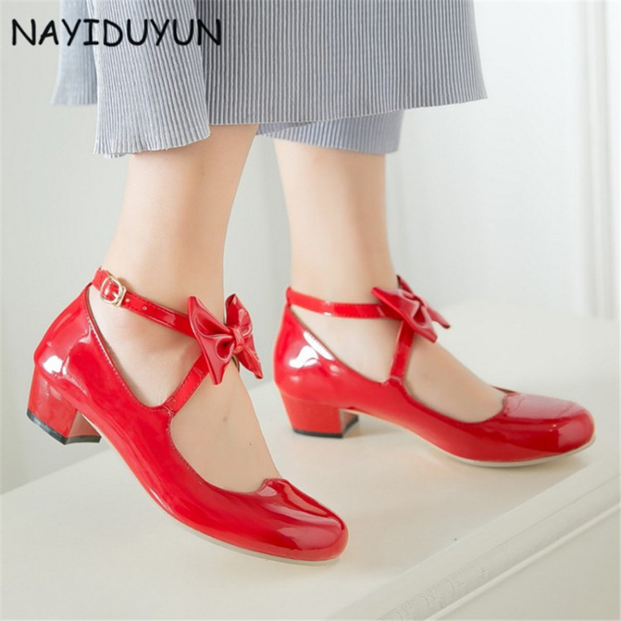NAYIDUYUN    Fashion New Women Patent Leather Mary Janes Cuban Low Heels Evening Wedding Party Pumps Casual Office Shoes US4-10