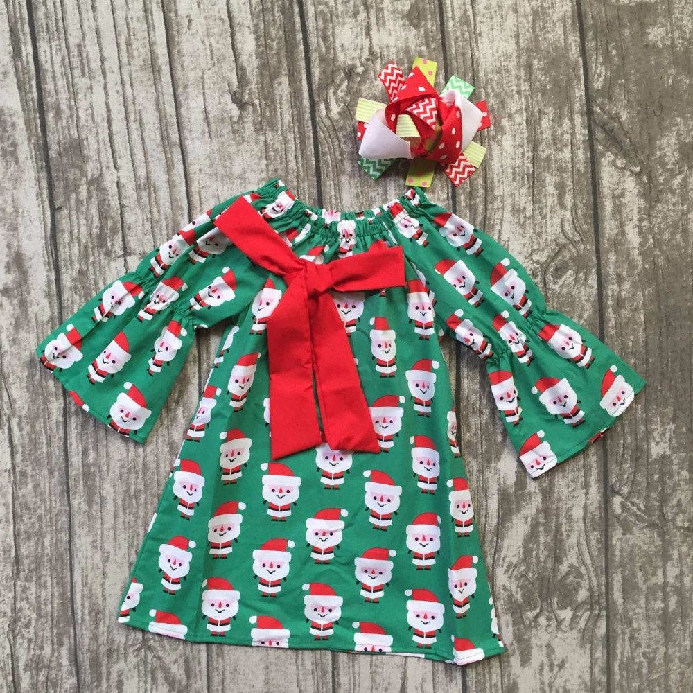 Christmas Fall/winter baby girls kids Santa Claus print green cute party dress bow flare with matching hairbow children clothes