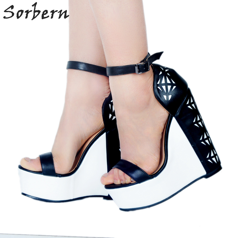 Sorbern White Ankle Strap Sandals Women Platform Shoes Ladies Sandals Size 11 Runway Shoes Women 2018 Extreme High Heels
