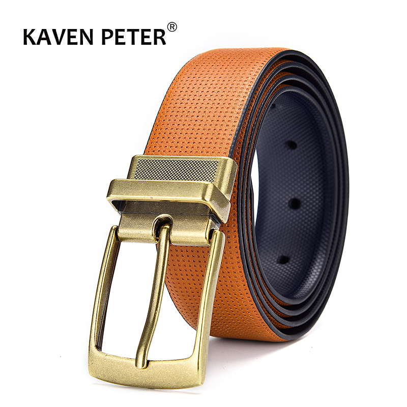 Men's Leather Reversible Belt Classic Fashion Designs WholesaleMale Business Dress Dot Belts With Rotated Buckle Dropship