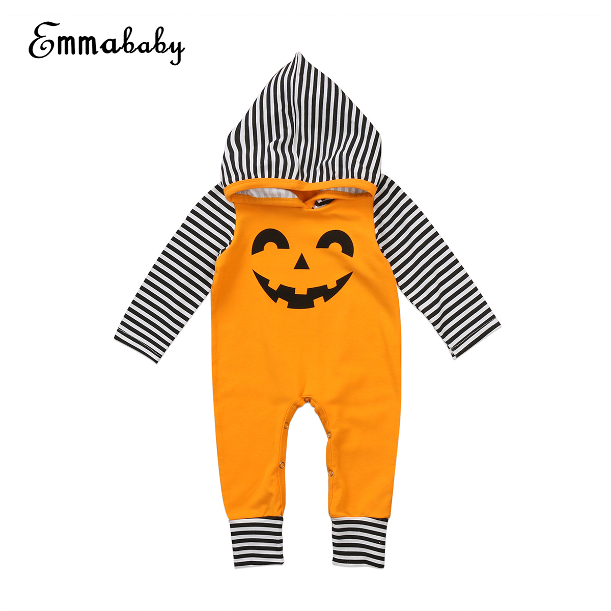 Lovely Toddler Baby Boy Girls Romper 2017 New Halloween Outfit Pumpkin Print Hoodies Romper Long Sleeve Warm Clothes