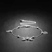 NEWBUY 2017 Hot Sale Silver Plated Women Bowknot&Heart Charm Foot Bracelet Wholesale Luxury Female Anklets Summer Jewelry