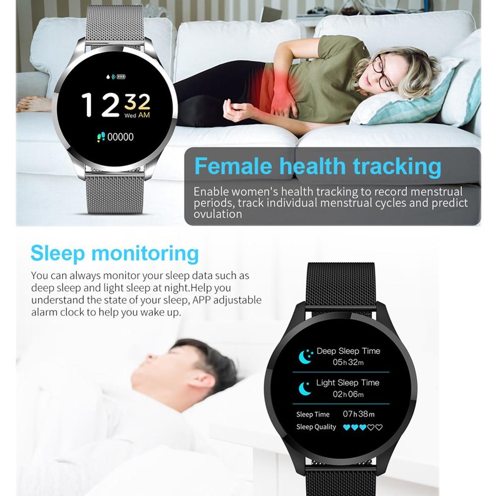 NEW 2019 Q9 Smart Watch Men Women Waterproof HR Sensor Blood Pressure Monitor Fashion Fitness Tracker Smartwatch in Smart Watches from Consumer Electronics
