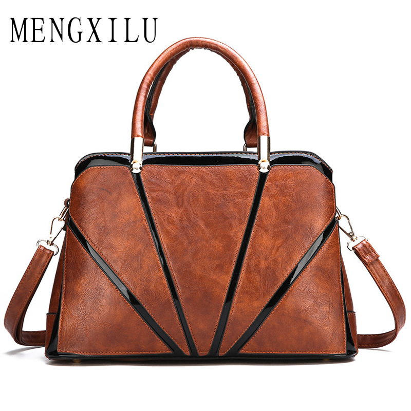 Large Capacity Women PU Leather Bags Luxury Handbags Patchwork Women Bags Designer Female Casual Tote Bag Bolsa Feminina vintage women pu leather handbags patchwork shoulder bags messenger bags casual tote diagonal bag female bags bolsa feminina