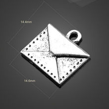 Whosesale 300pcs/lot 14.4x14.6mm Antiqued Silver Tone Vintage Alloy Envelope Charm Jewelry Charms Envelope(China)
