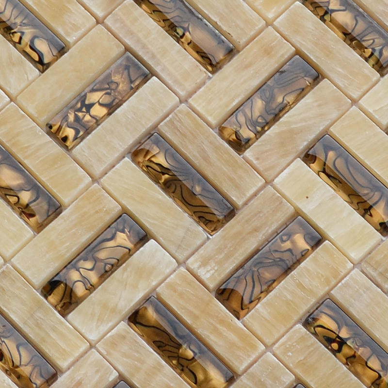 High Quality Rosin Jade Yellow Marble Stone Brown Gl Mosaic Tiles Kitchen Backsplash Bathroom Wall Floor Tile In Wallpapers From Home Improvement On