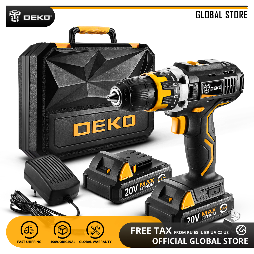 DEKO GCD20DU2 20V MAX Power Tool with Lithium Battery Variable Speed Electric Screwdriver with LED Light
