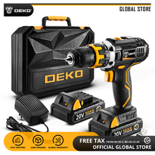 DEKO GCD20DU2 20 В в MAX power Tool с литиевой батареей с переменной скоростью электрическая отвертка со светодио дный подсветкой для дома DIY Беспроводная Дрель