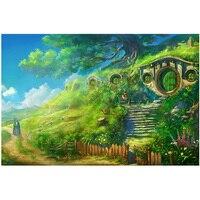 Ev ve Bahçe'ten Elmas Boyama Çapraz Dikiş'de Hobbit Köyü için Diy Elmas Boyama El Sanatları Çapraz Dikiş Tam Kare Yuvarlak Elmas Nakış satış resimleri duvar artZP 889
