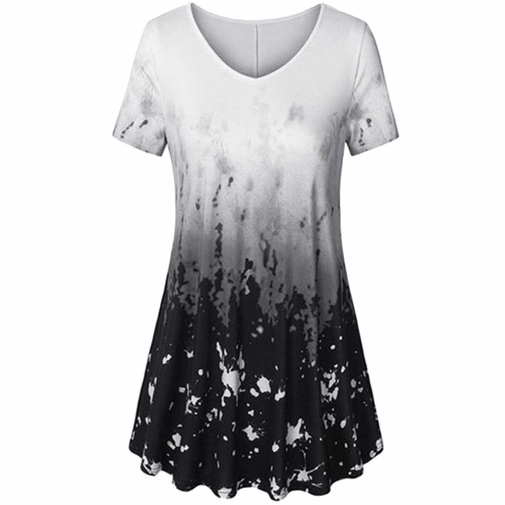 Fesyen Musim Panas Ukuran Plus Cetak Blus Kasual Wanita Tunik Tee Tops Wanita Wanita Lengan Pendek Kemeja Blusas Femininas Pullover