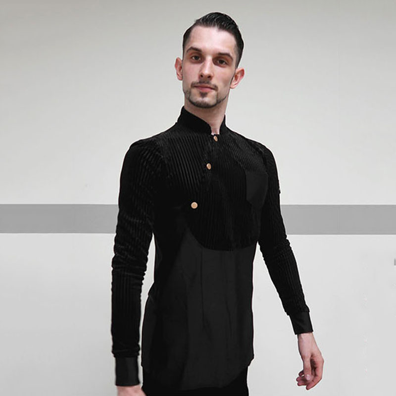 Latin Dance Shirts Male Black Long Sleeve Standing Collar Ballroom Shirt Men Salsa Rumba Dancing Tops Latin Practice Wear DN3775