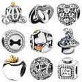 Waya prata charme love theme clara cz encantos europeus fit bracelet & bangle mulheres diy acessórios de moda jóias originais