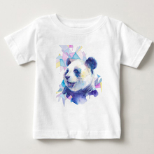 T Shirt girl 2018 Summer Fashion Cotton Panda Prints Short Sleeve O-Neck T-shirt White Tops children summer sleeve