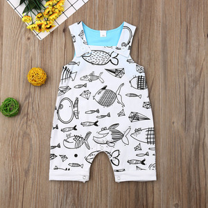 Pudcoco Newborn Baby Boy Girl Clothes Sleeveless Cute Fish Print Cotton Romper Jumpsuit One-Piece Outfit Playsuit Clothes(China)