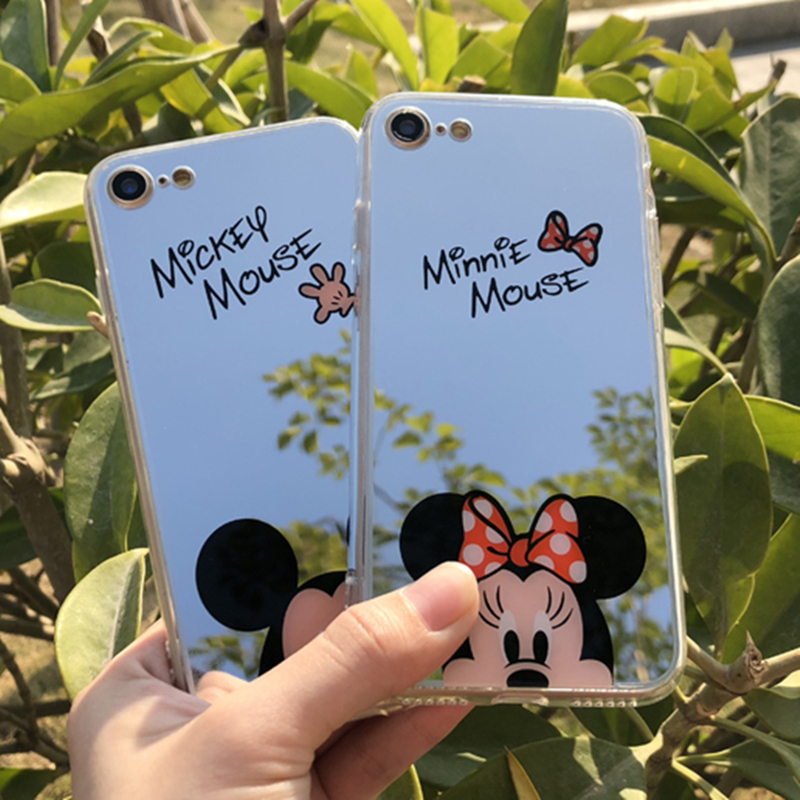 for iPhone X Cartoon Mickey Mouse Minnie Mirror Phone Cases for iPhone 6 6s 7 8 Plus 5 SE 5S Soft TPU Funny Back Cover Shell