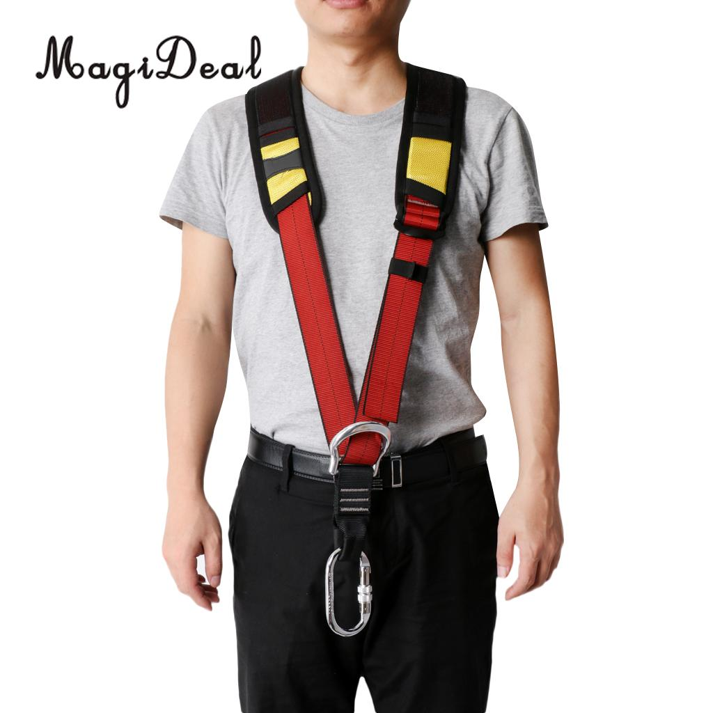 MagiDeal High Strength Safety Pro Shoulder Strap Sling for Outdoor Professional Rock Climbing Fall Protection Harness Equipment 25kn professional carabiner d shape safety master lock outdoor rock climbing buckle equipment