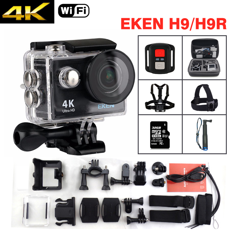 EKEN H9 / H9R Action camera Ultra HD 4K / 25fps WiFi 2.0LCD 170D underwater waterproof Helmet Cam mini camera Sport DV original eken sports camera h9 h9r action camera 4k 25fps with remote 2 0 helmet ultra hd cam underwater go waterproof pro
