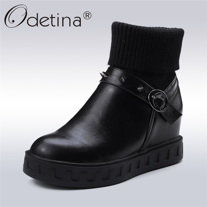 купить Odetina 2017 New Fashion Women Hidden Heel Ankle Boots Rivets Thick Platform Flat Booties Buckle Winter Warm Shoes Plus Size 43 дешево