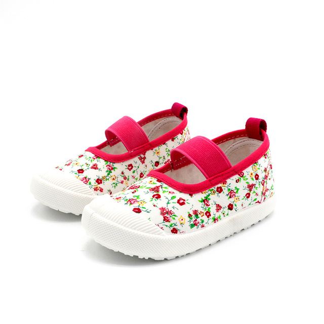 2019 New Spring Autumn Baby Girl Shoes Kids Canvas Shoes Children's Casual Sneakers Candy Color Flowers For Girls Floral Prints