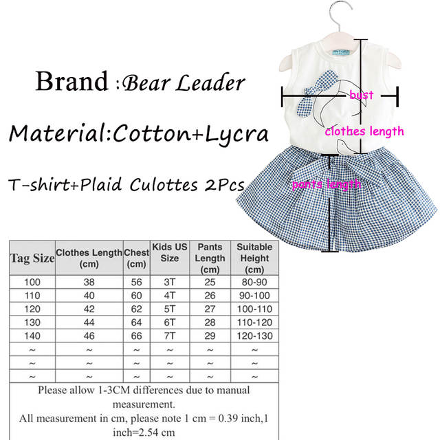 63ff9811ebd3e3 Bear Leader Girls Clothing Sets 2018 Brand Summer Style Kids Clothing Sets  Sleeveless White T-